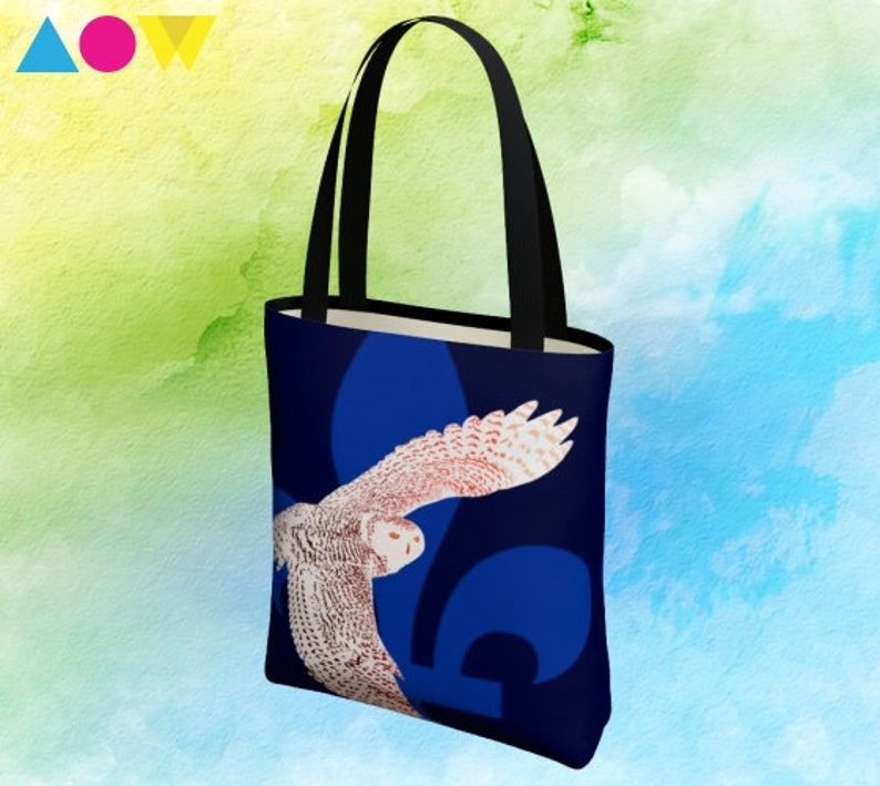 Simple tote bag with my original design of  the floral and avian emblems of Quebec.
