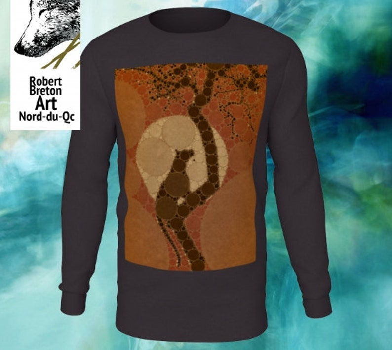 Men with my design of the leopard climbing his tree decorative percolator version.. Long sleeve tees Women