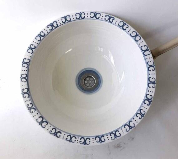 Waschbecken Waschtisch Keramik Aufsatzbecken Neu Rea *SOL* Becken Weiß//Gold