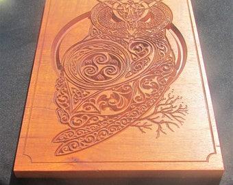 Owl Plaque;Celtic Owl;Carved Owl;Wood Owl