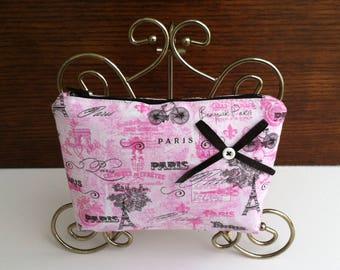 Paris Cosmetic Bag, Paris Makeup Bag, Eiffel Tower Cosmetic Bag, Pink and Black Cosmetic Bag, Eiffel Tower Makeup Bag