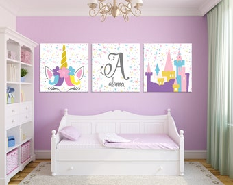 girls room wall decorating unicorn castle girls room wall art magical nursery nursery decor canvas set prints girls room wall art etsy
