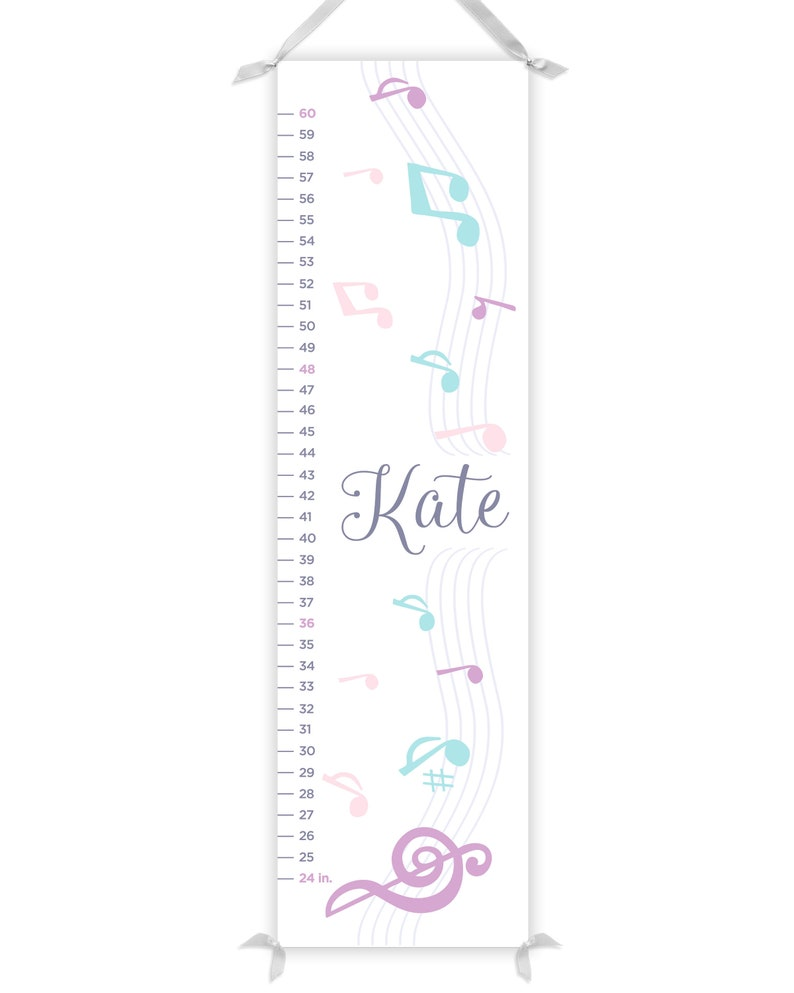 Personalized Music Growth Chart, Music Notes Growth Ruler, Growth Chart  Canvas, Music Height Chart, Girl's Growth Chart