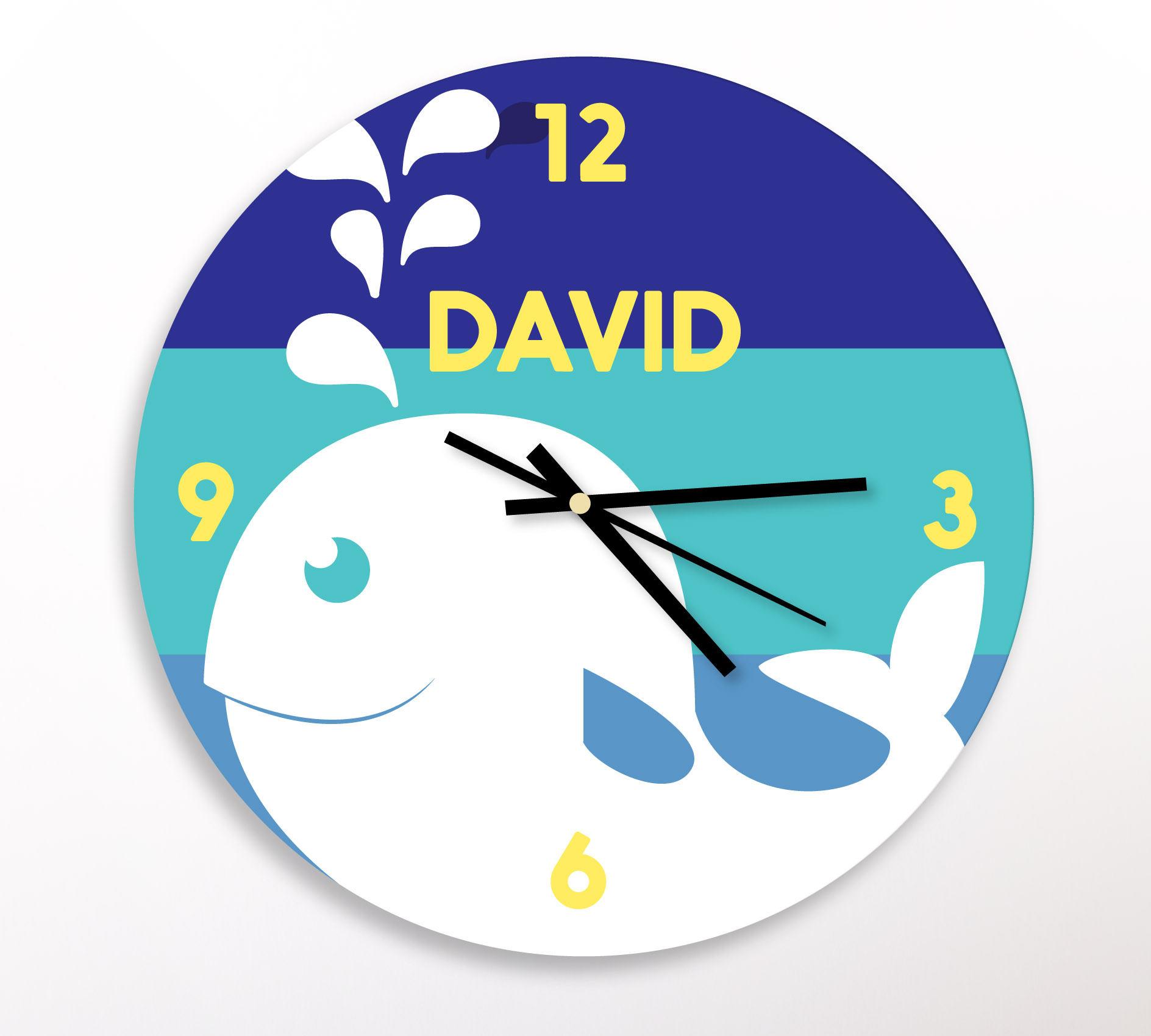 Whale Kids Wall Clock Modern Kids Clock Childrens Etsy