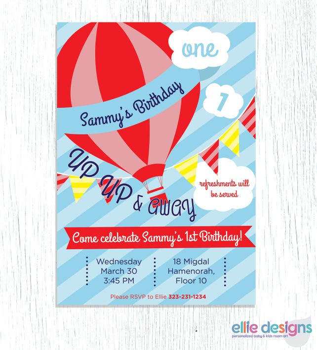 Hot air balloon themed birthday party invitation printable etsy image 0 filmwisefo