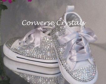 e2fa9e3f1cc9 Baby Custom All Crystal  Bling  Crib Converse Sizes 1-4 (0-12 Months)