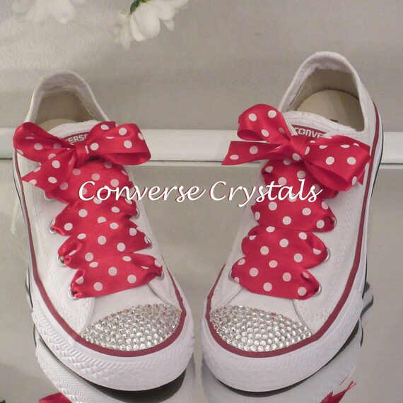 be85819dce47 Junior Custom Crystal Bling Converse Red Spot Laces Sizes