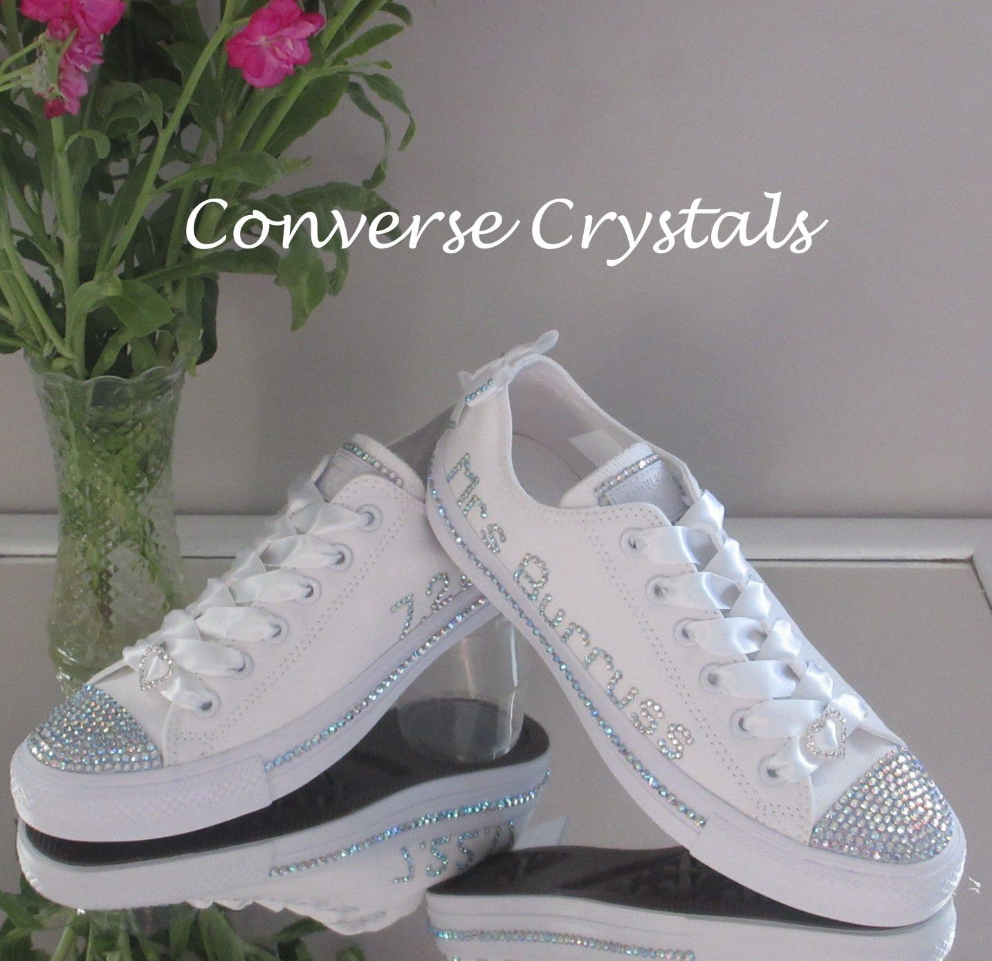 7391f30ed53d Personalised Bridal Mono White Custom Crystal  Bling  Converse ...