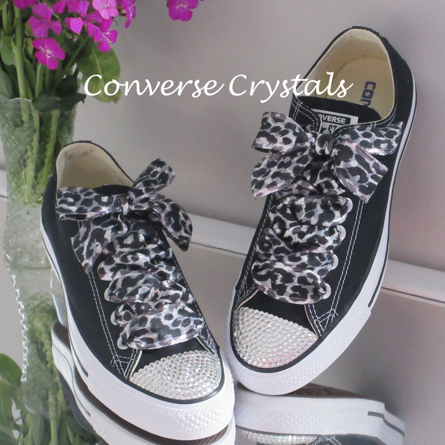 Ladies Custom Crystal  Bling  Converse Silver Animal Print Ribbon ... b3fcbebf64