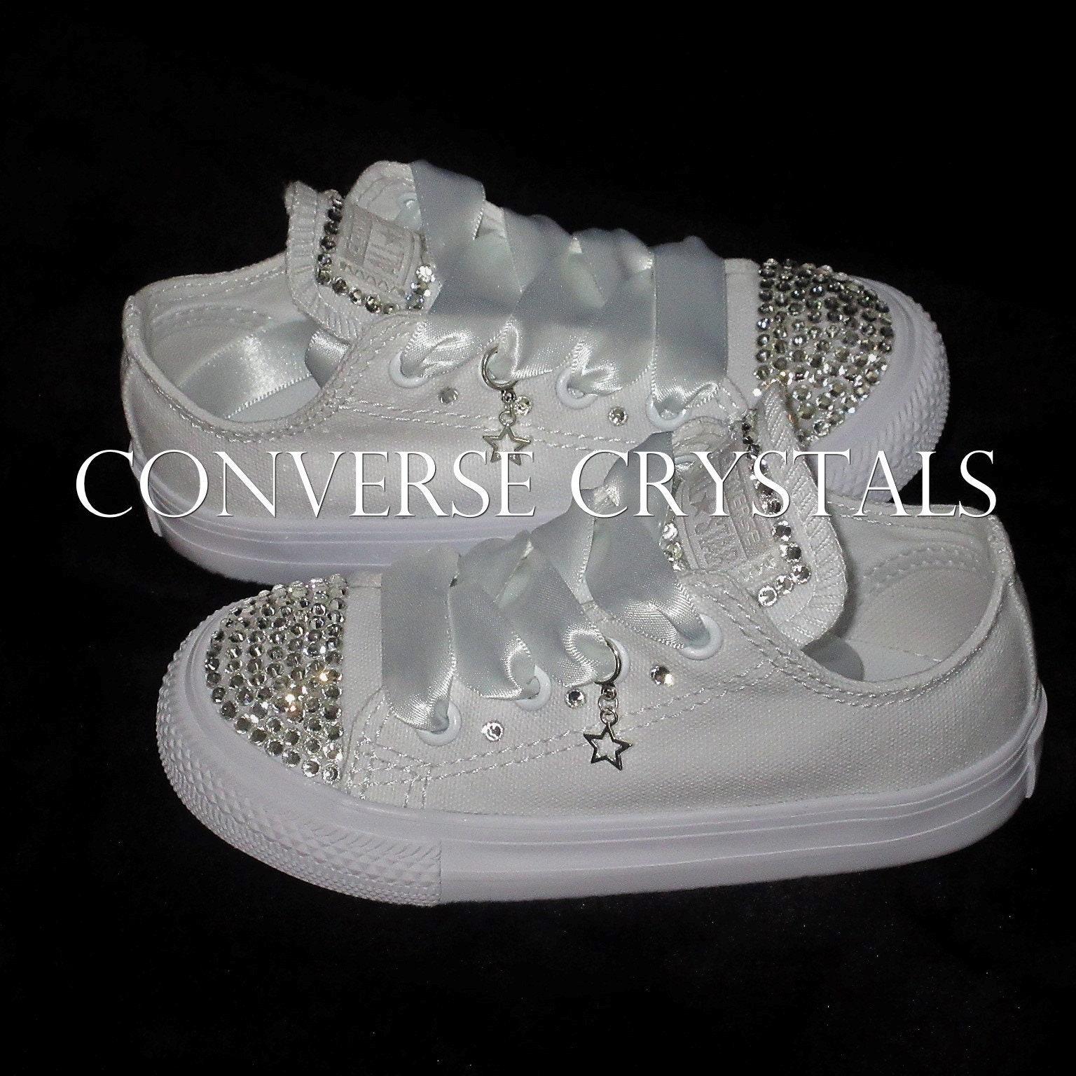 Bridesmaid   Flower Girl Mono White Custom Crystal Converse Infant ... b3f4eb21a572