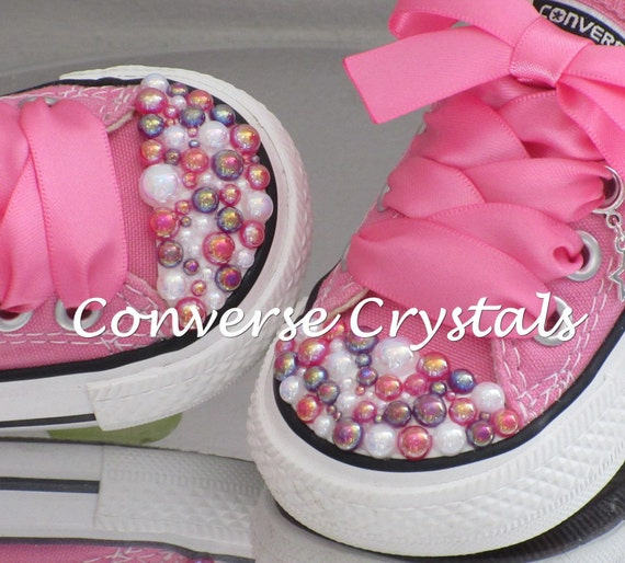 Unique Customised Infant Pearl Toe Bling Converse Sizes 2-10  1b31a8b7a