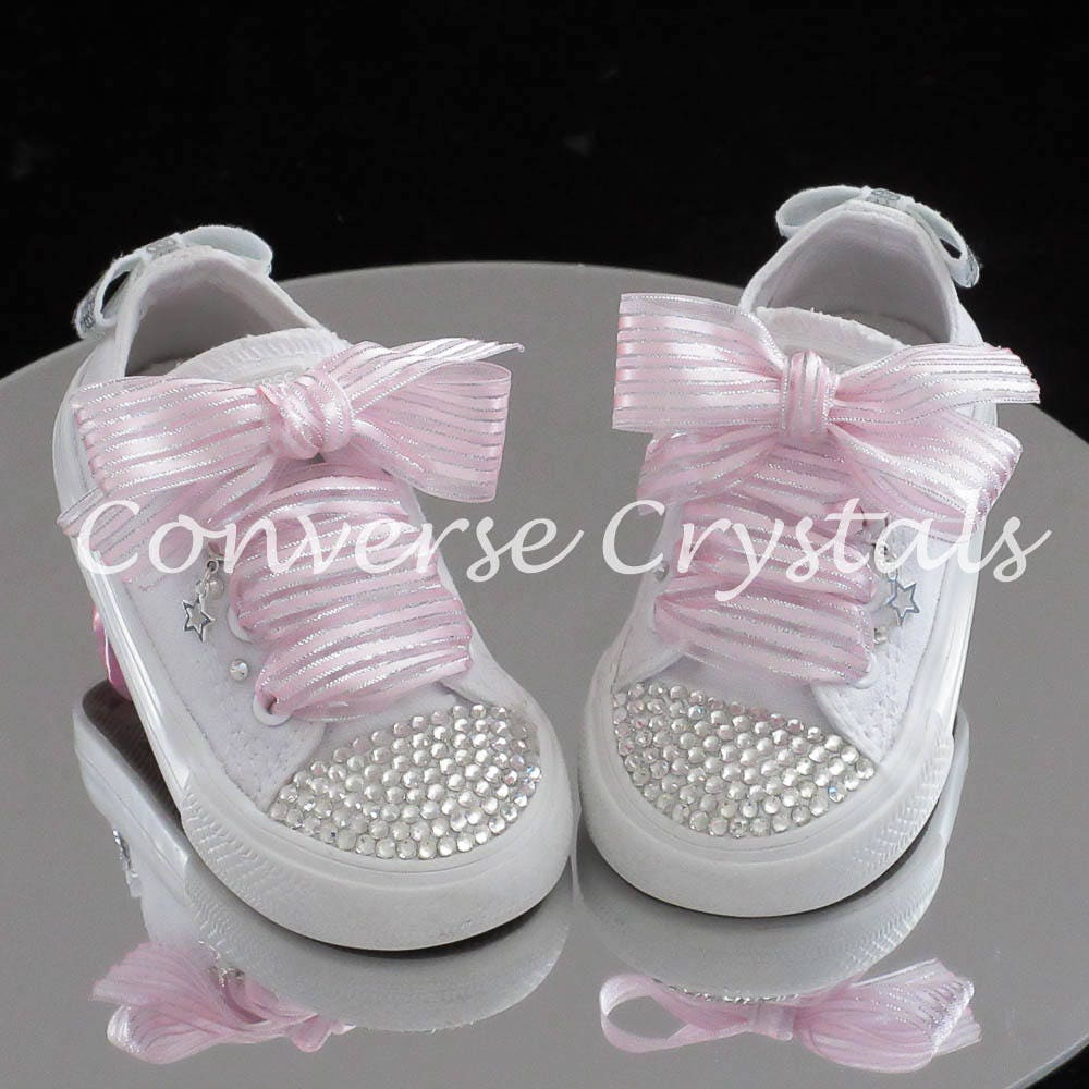 410f4141116401 Baby Toddler Girls Mono White Custom Crystal  Bling Converse Infant Sizes  2-10. Any ribbon colour available.