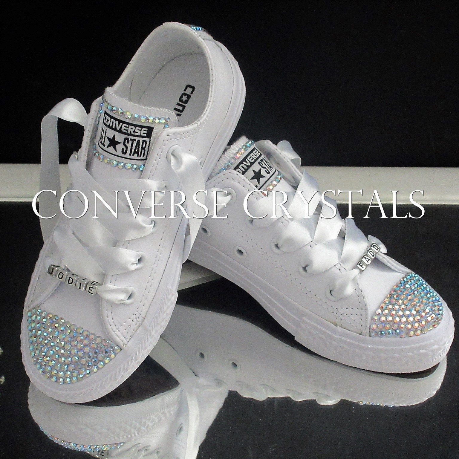 ccdc26153345f9 Name Personalised Junior Girls Leather Mono White Custom Crystal ...