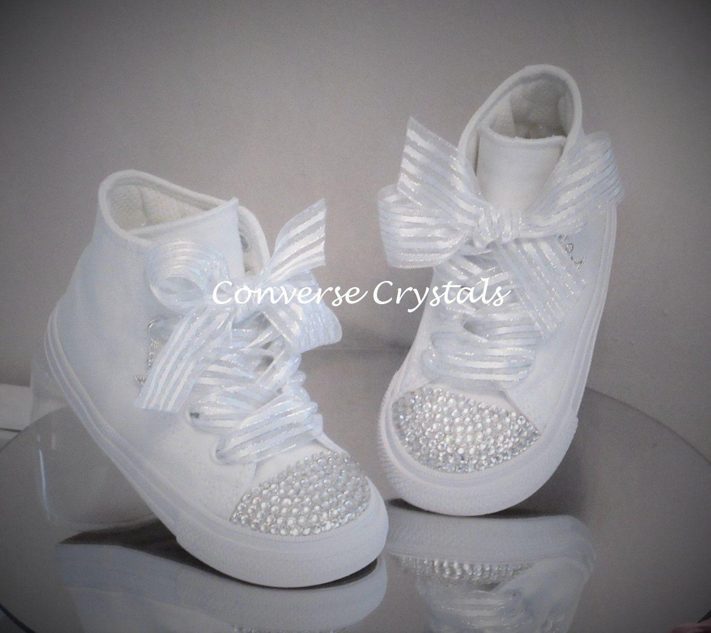 Girls Mono White Hi Top Custom Crystal Toe  Bling  Converse Sizes 2 ... aa4cce9d0