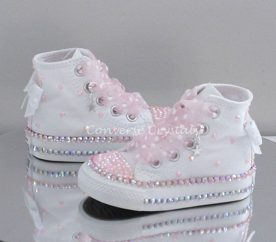 d5a2abcd1845b4 Baby Toddler Girls Custom Crystal Bling Converse Double