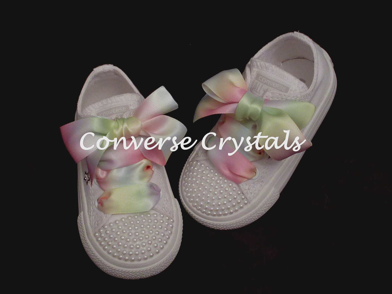fddc1b0b37b023 Mono White Custom Pearl Toes and Backs  Bling  Converse Infant Sizes 2-10