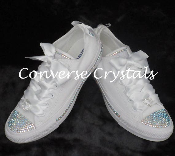 8f74b2db258e Bridal Mono White Custom Crystal Bling Converse With Side