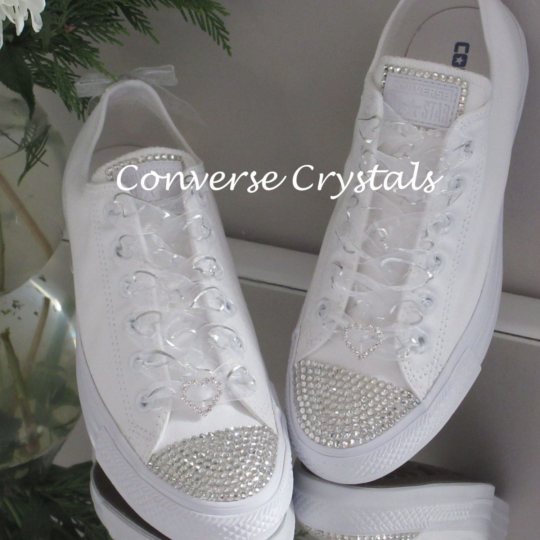 20b3a4cefd3a Bridal Mono White Custom Crystal  Bling  Converse- Clear Crystals ...