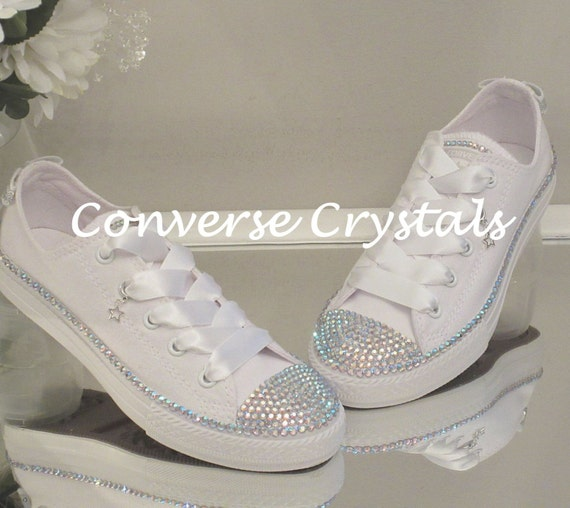 2aa917b8d85c Mono White Bridal Custom Crystal Bling Converse Sizes 3-8