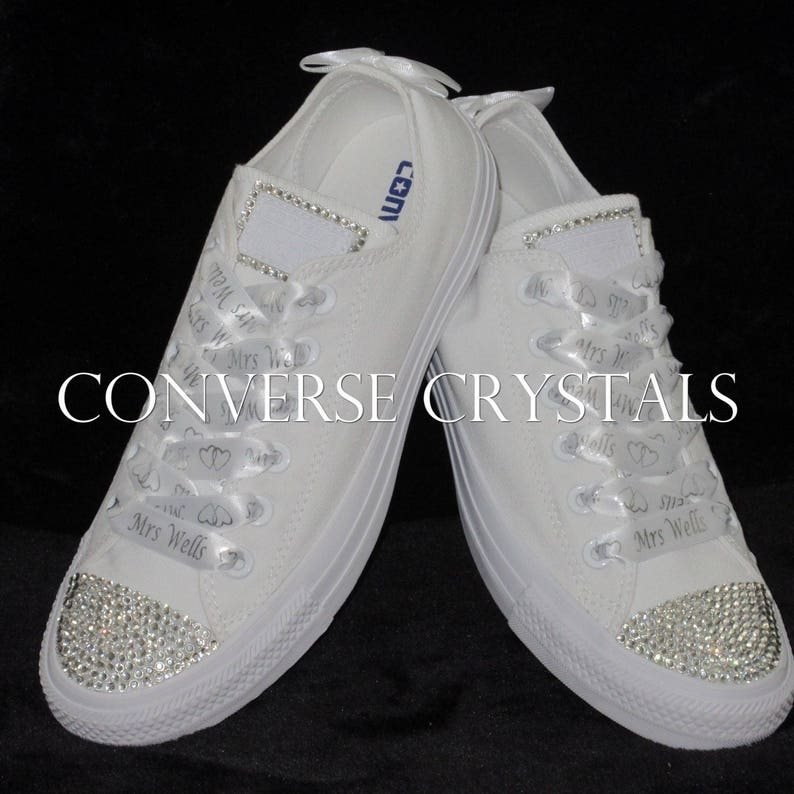 26bd32536716 Bridal   Wedding Custom Crystal Converse With Personalised
