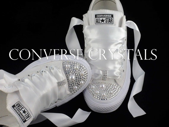 486fca12b4bd Wedding Bridal Custom Mono White Converse All Sizes inc Half