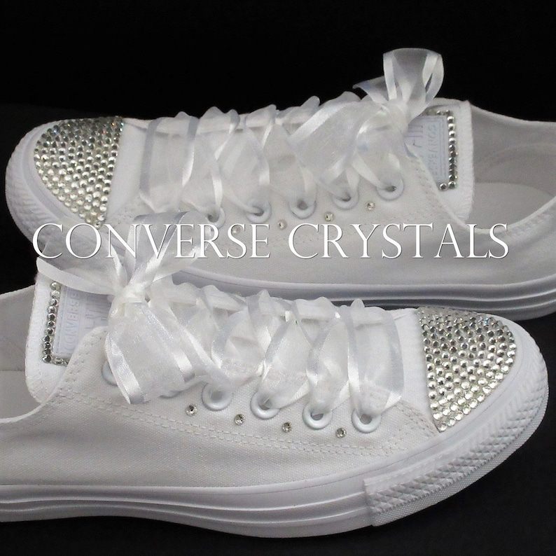 d1b7475b43e7 Bridal   Wedding Mono White Custom Converse Sizes UK Sizes