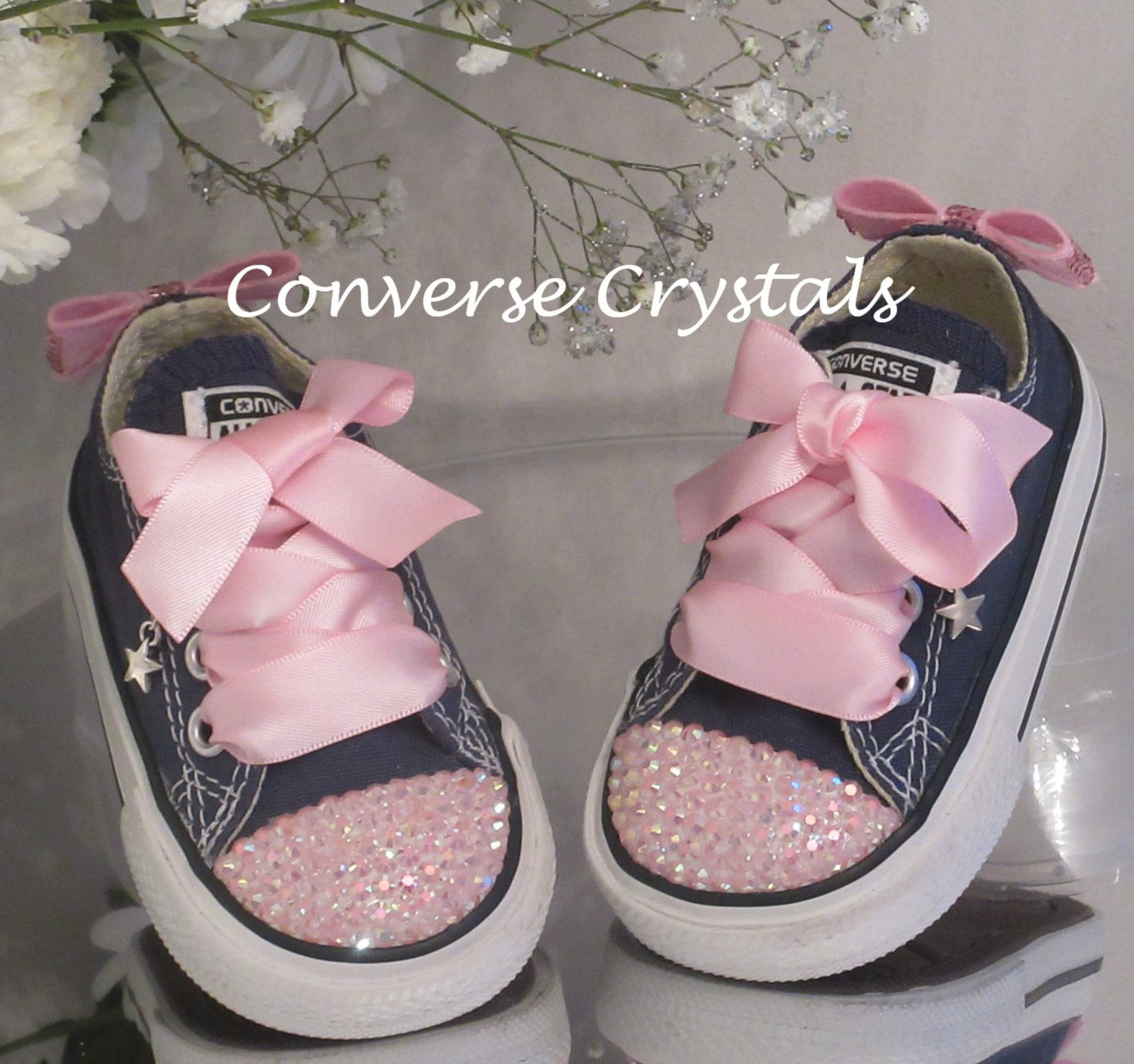 20e9bc820 Baby Toddler infant Toes and Bows Custom Crystal  Bling  Converse ...