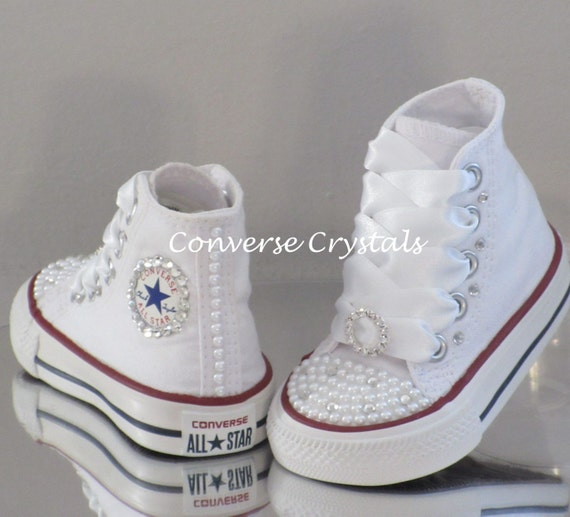 Custom Crystal and Pearl Toe Bling Converse Sizes 2-10.  2eceb9ec1