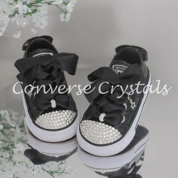 Junior Black Glitter Custom Crystal Bling Converse Sizes  18373f5f98d8
