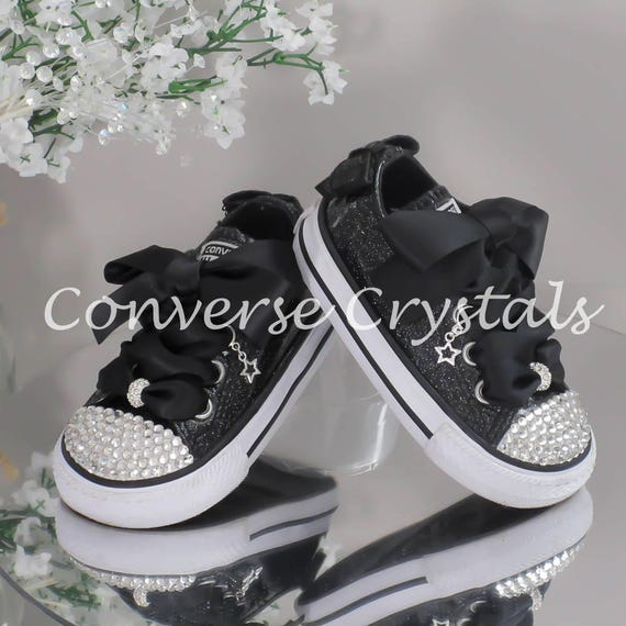 Black Glitter Custom Crystal Bling Converse Infant Sizes  b06bf1673a