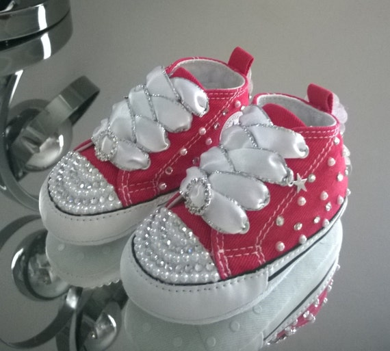 Baby Crib Custom Crystal and Pearl Bling Converse Various  b4155276e