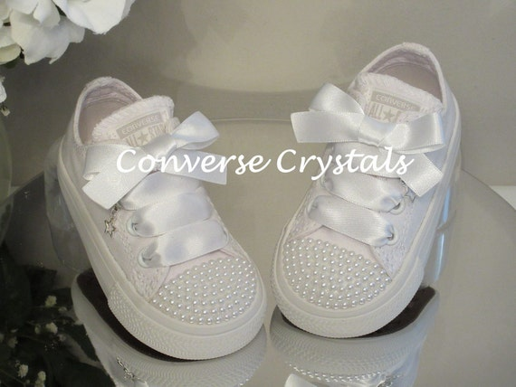 Mono White Custom Pearl Toes Bling Converse Infant Sizes  4aab2f0be