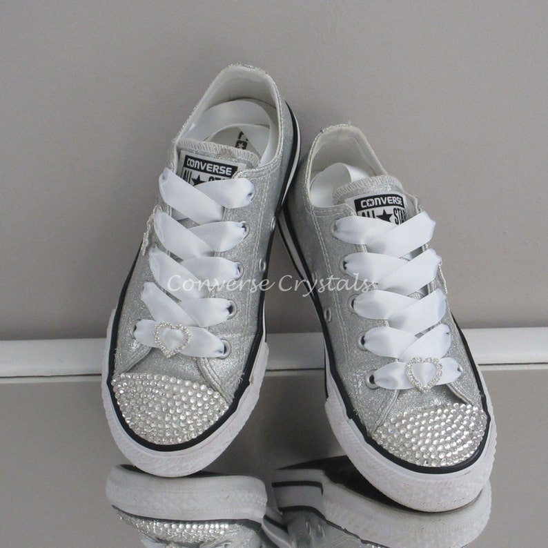 1431d969f2d Junior Silver Glitter Custom Crystal Bling Converse With
