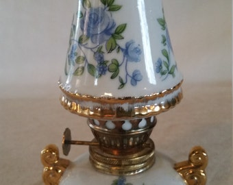 lamp by royal crown japan/ceramic lantern/miniature lantern/lantern/miniature lamp/small floral lamp/miniature lamp