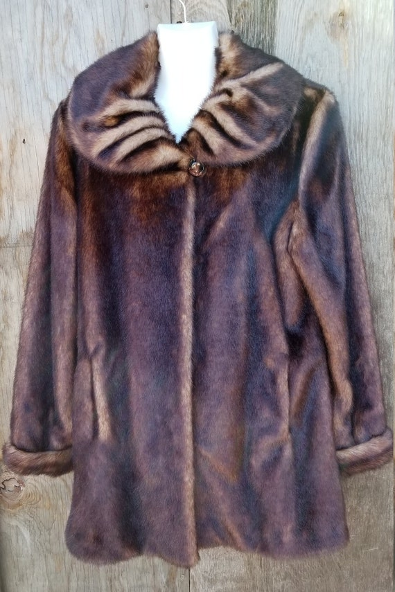 Faux fur mink coat/Pamela McCoy coat/faux fur coat