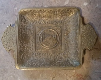 brass ashtray made in istanbul/brass ashtray/ashtray/vintage brass ashtray/ornate brass ashtray