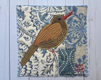 Appliqued Bird Wall Art, Unframed Original Art Textile Bird, Bird Art Quilt, Bird Lovers' Gift