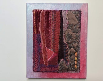 Original Quilted Textile Art Wall Decor, Art Quilt in Magenta and Purple Mounted on Canvas, Fiber Art for the Wall