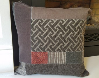 Accent Pillow Cover with Decorative Patchwork, Contemporary Throw Cushion Cover with Geometric Design, Statement Housewarming Gift
