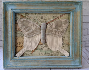 Textile Butterfly Art in a Standing Wooden Frame, Rustic Fabric Butterfly Decor for Natural History and Nature Lovers, Baby Shower Gift