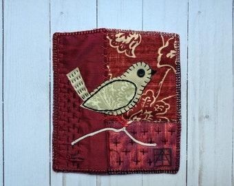 Original Folk Art Stitched Bird Art, Unframed Original Art Textile Bird, Fiber Art Appliqued Bird Decor, Bird Art Quilt, Bird Lovers' Gift