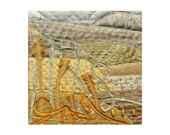 Abstract Yellow Landscape Wall Art Print, Stitched Modern Wall Decor in Summer Yellows, Contemporary California Landscape Textile Art Print