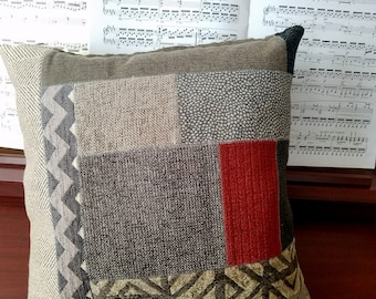 Gray Patchwork Pillow Cover with a Modern Feel, Accent Throw Cushion Cover with a Contemporary Design, House Warming Gift
