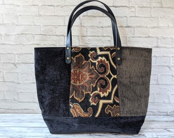 Statement Velveteen Steampunk Tote Bag for Women, Large Eco-friendly Tapestry Shoulder Purse for Her, Unique Handcrafted Tote Handbag