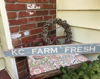 "Vintage, farm-house style sign: ""KC Farm Fresh"" (chalk paint, hand painted, kansas city, rustic, shabby chic, antique, wood sign)"