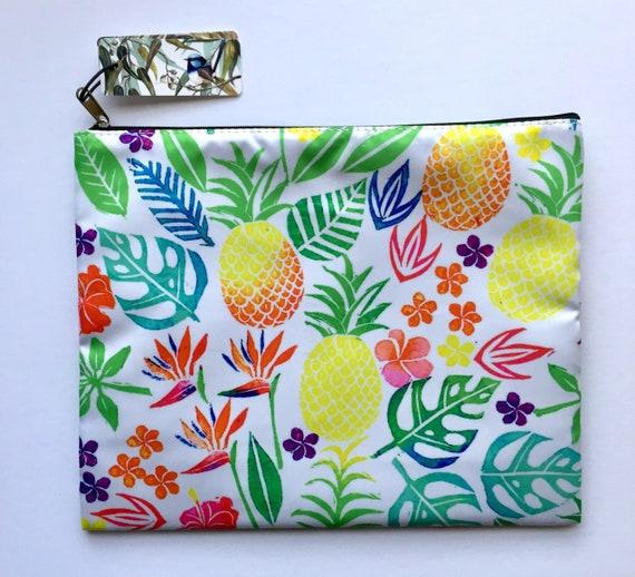 Accessoires de sac à main sac de tropical à la main impression pochette sac à main portefeuille mon quotidien tirage Pigment crayon cas ananas fleurs