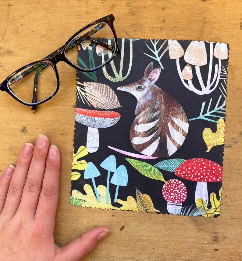 Reusable Eco Micro Fibre Lense Cloth Bandicoot Animal Tasmania Glasses Devices Cleaning Pigment Monica Reeve Accessories Woodland Fungi
