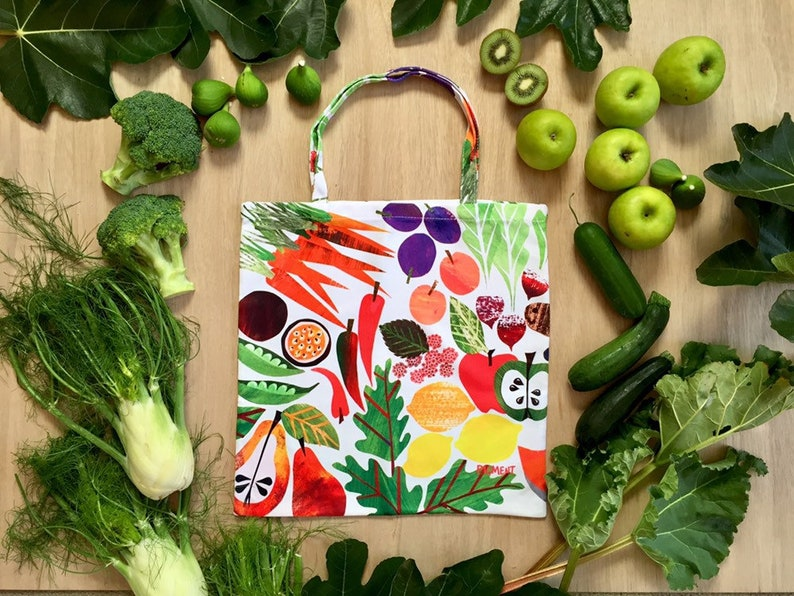 c69a526bbacf7 Fruit Vegetables Market Eco Shopper Tote Large Bag Reusable Accessories  Shop Shopping Tasmania Bright Statement Colour Veggies Fresh Produce