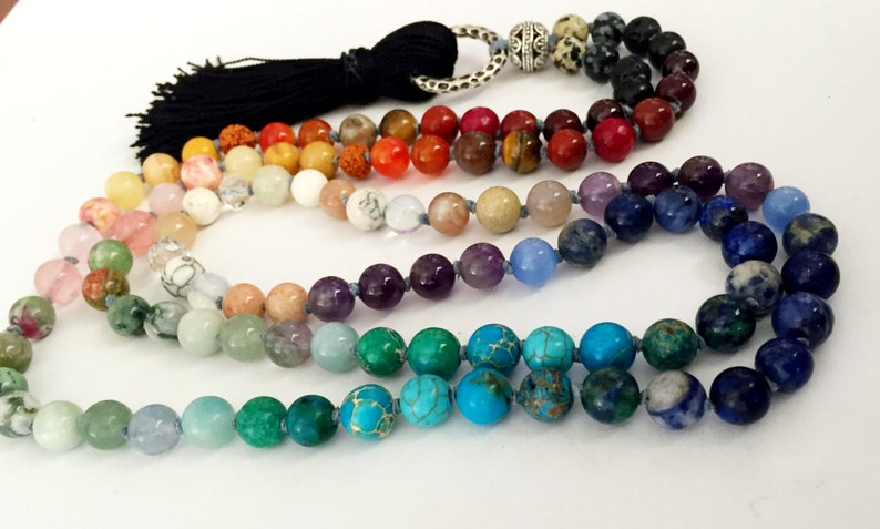 108 Bead Knotted 7 Chakra Mala Rainbow Necklace or Wrap image 0