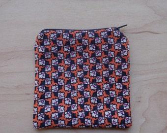Cute Orange and Blue Print Zipper Pouch//Funky Orange Coin Purse
